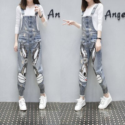 Cartoon Character Print Denim Jumpsuit - T's Little Somethings