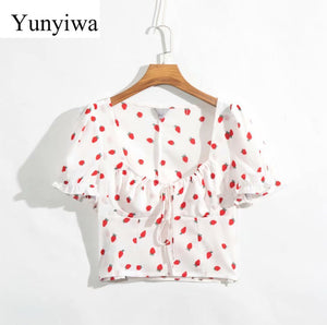 Strawberry Printed Short Top - T's Little Somethings