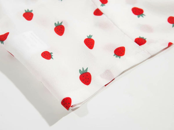 Strawberry Printed Short Top