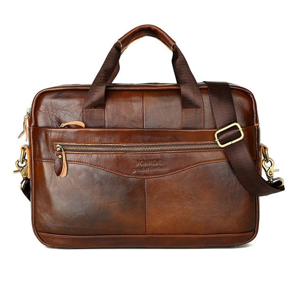Cowhide Leather Crossbody Briefcase for Men - T's Little Somethings