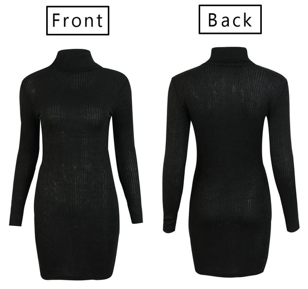 High Collar Bodycon Knitted Dress