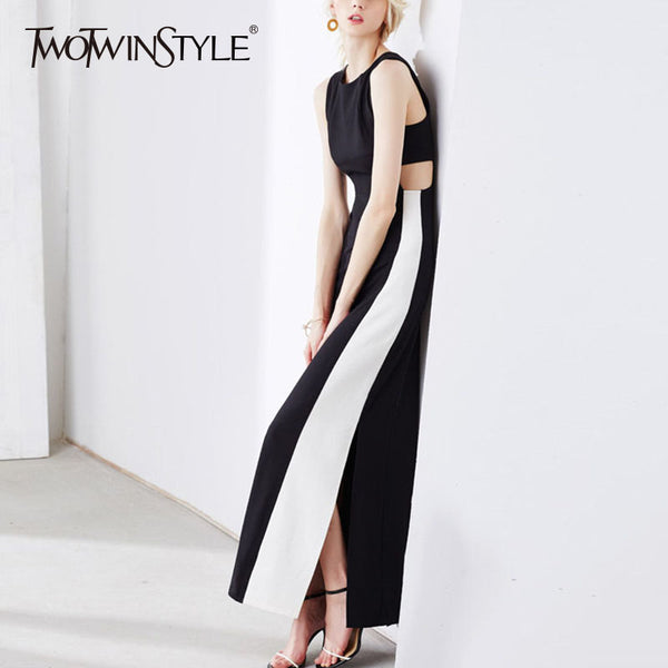 Sleeveless High Waist Long Dress