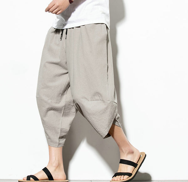Men Casual Hip Hop Trousers Grey
