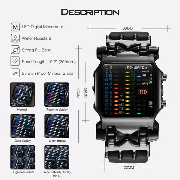 Square Style Luxury Wristwatch