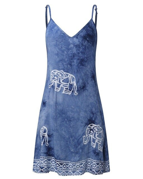 Spaghetti Strap Elephant Square Print Dress