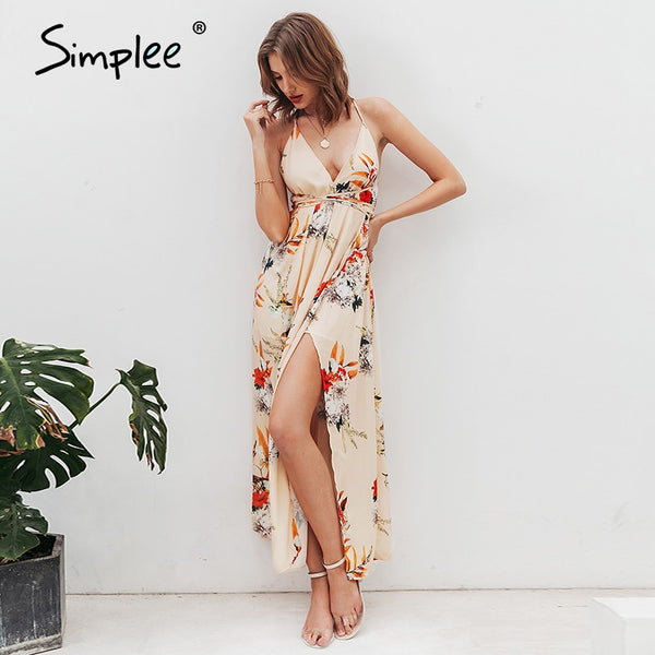 Backless Floral Print Long Dress