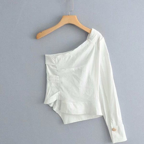 White One Shoulder Pleated Top