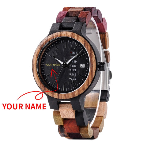 BOBO BIRD Wood Watch Men Women  Engraved Personlization