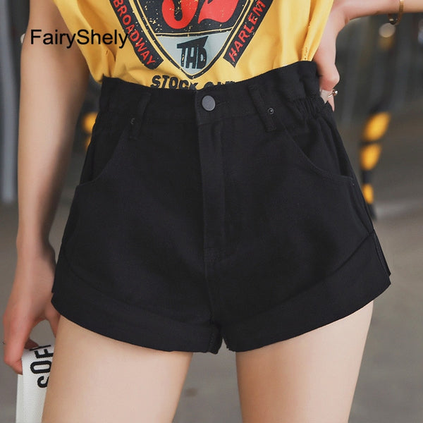 FairyShely  Wide Leg Loose Denim Shorts