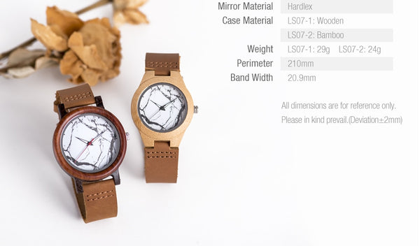 BOBO BIRD Wood Watches Men Women Marble