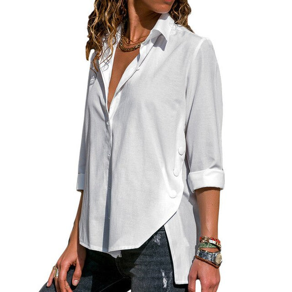 Button V-Neck Long Sleeve Shirt  - T's Little Store - T's Little Somethings