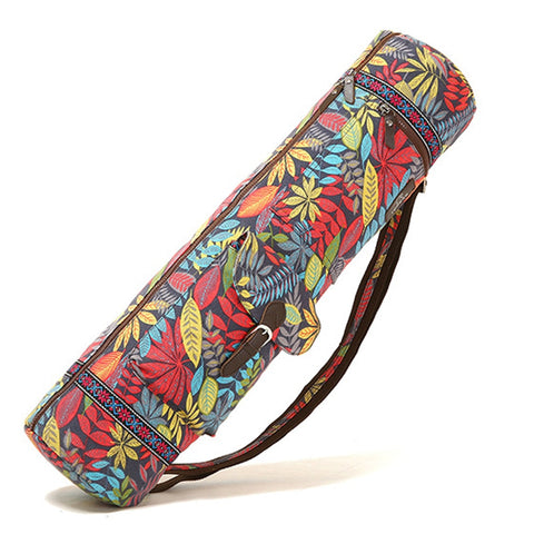 Adjustable Strap Yoga Mat Bag Leaves Print - T's Little Somethings