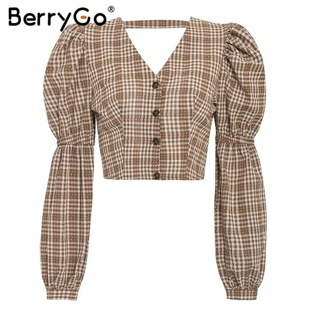 BerryGo Plaid Backless Puff Sleeve Top - T's Little Store
