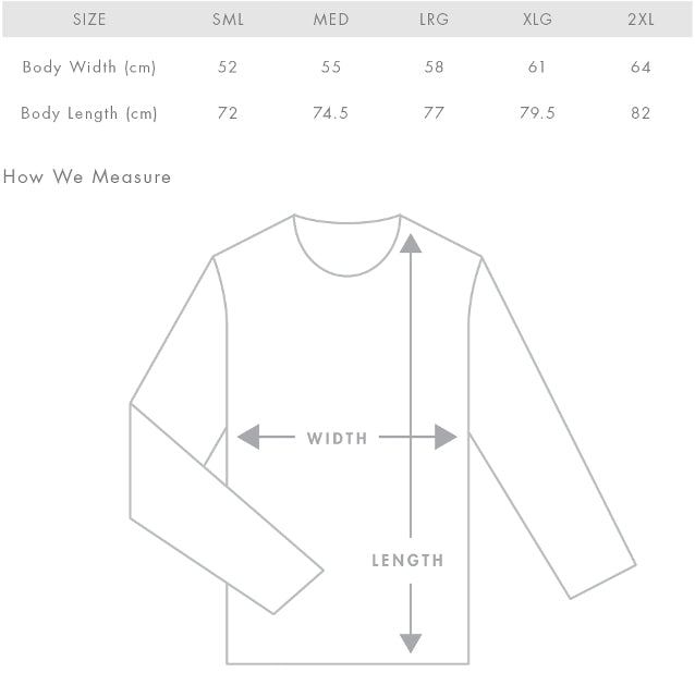 Size Guide for All 4 Adventure Camo Hoodie