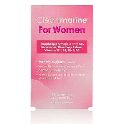 CLEANMARINE KRILL Oil WOMENS 600mg Caps 60's MSC Certified