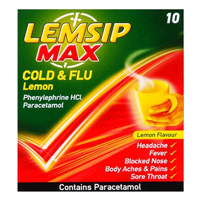 LEMSIP MAX COLD & FLU SACHETS LEMON