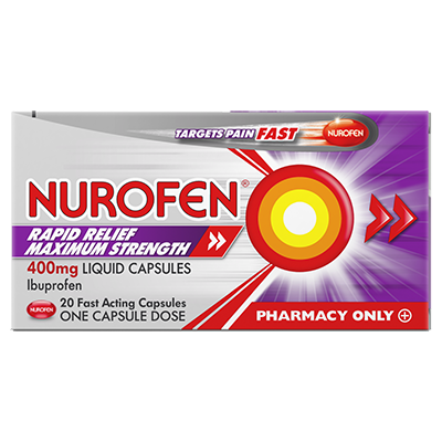 NUROFEN RAPID RELIEF MAXIMUM STRENGTH 400mg LIQUID CAPSULES