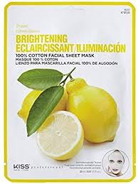 KISS 100% COTTON BRIGHTENING LEMON FACE MASK
