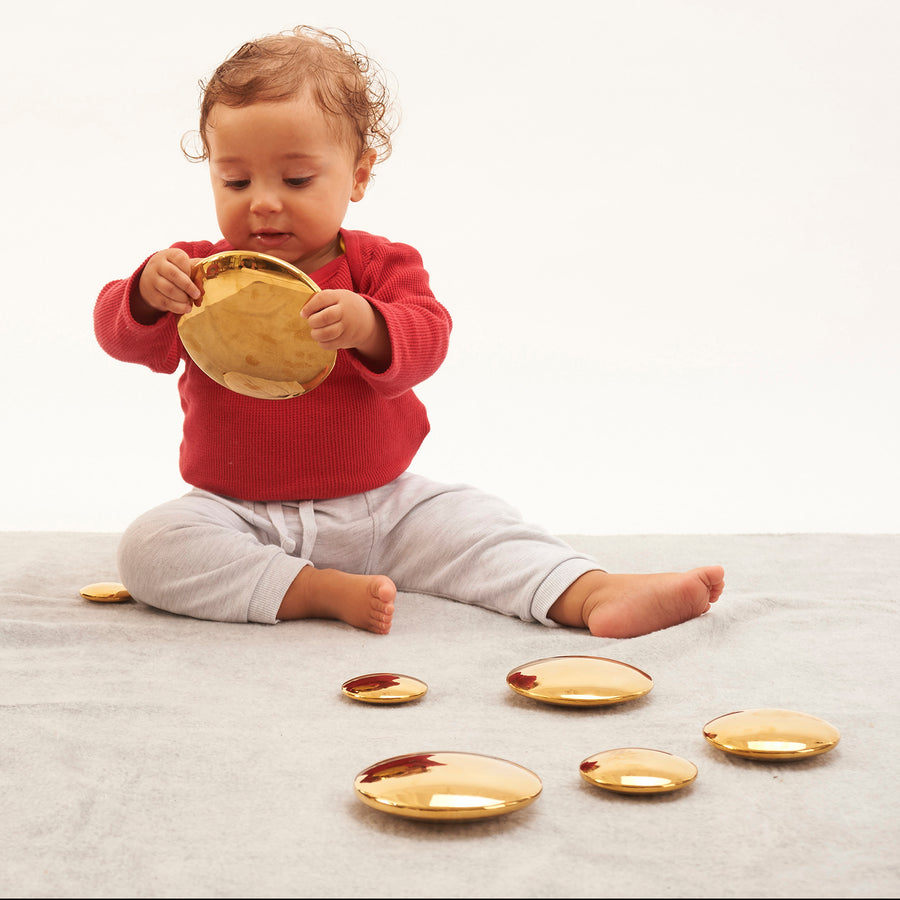 Sensory Reflective Gold Buttons