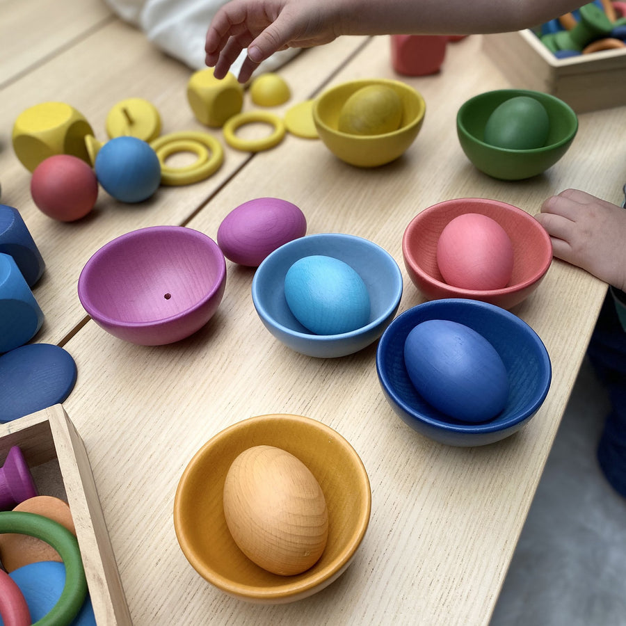 Rainbow Wooden Bowls
