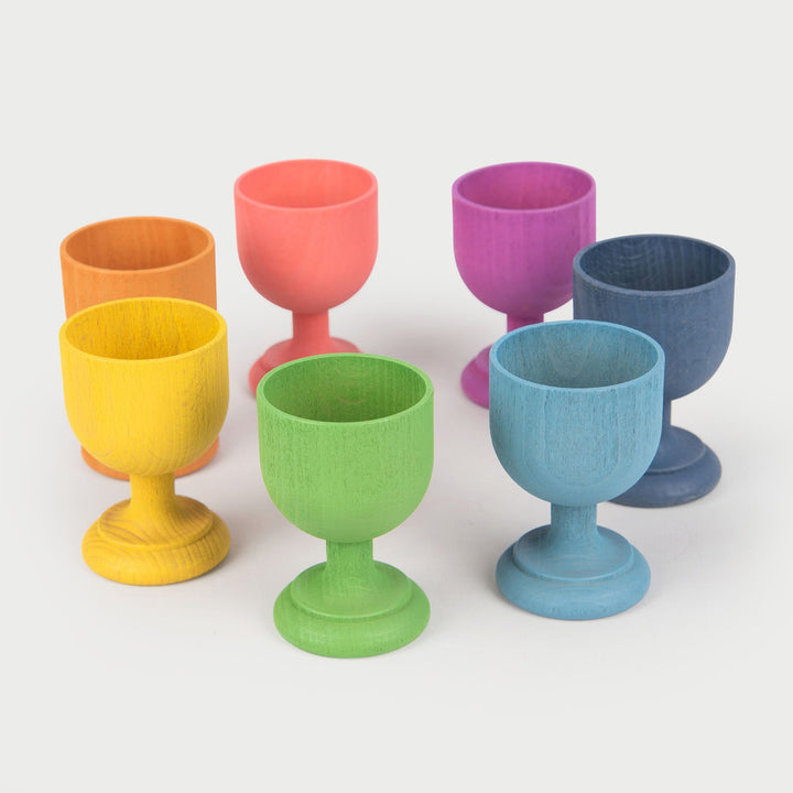TickiT® Rainbow Wooden Egg Cups - Pk7