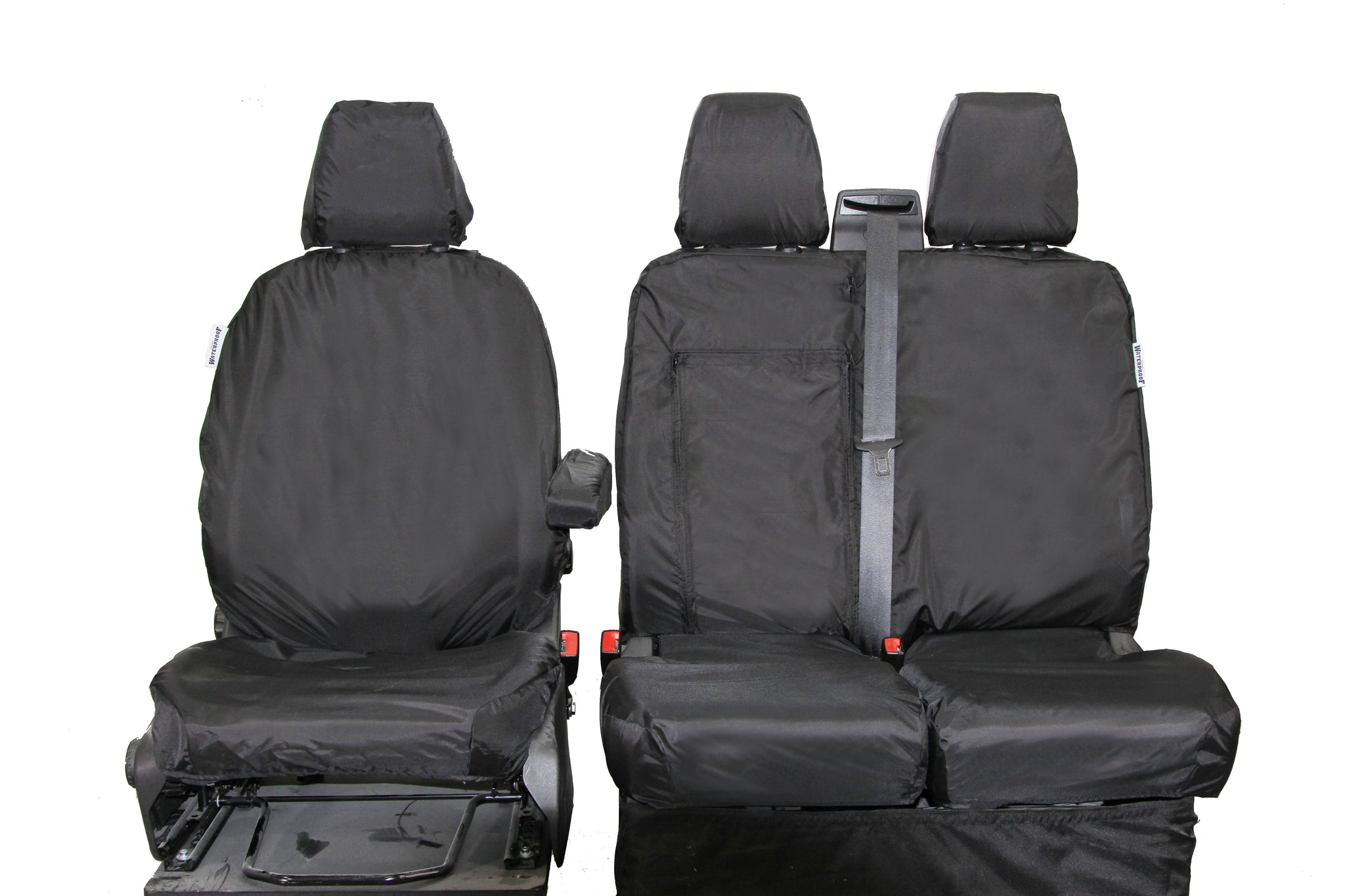 DELUXE GREY PATCH VAN SEAT COVERS SINGLE DOUBLE FORD TRANSIT CUSTOM 2018