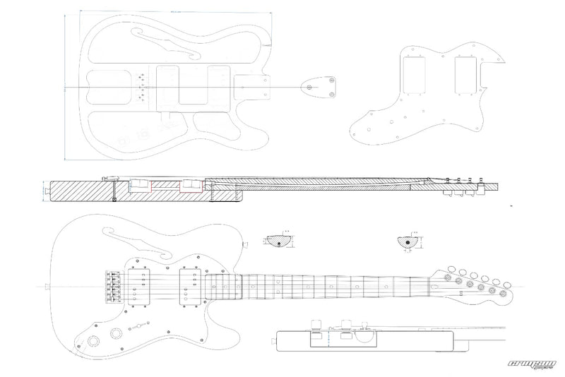 Guitar Plans - T-type 72 Thinline