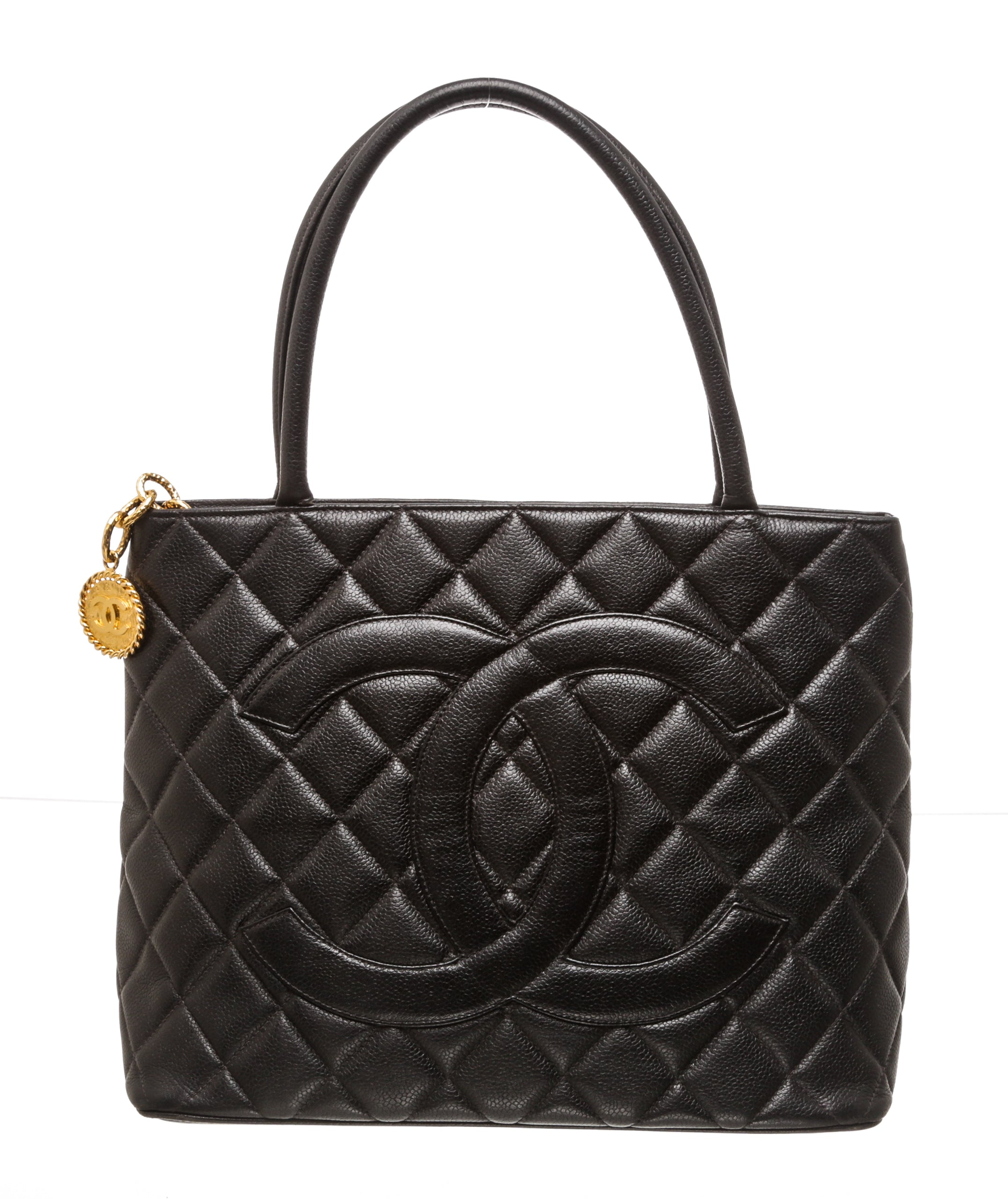 Chanel Black Caviar Quilted Leather Medallion Tote Bag