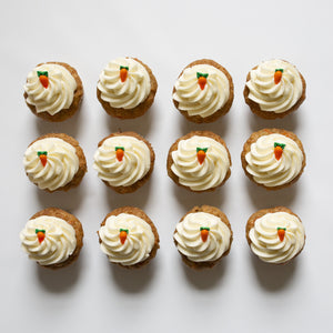 one dozen carrot cupcakes