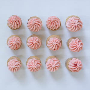 one dozen strawberry cupcakes