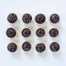 Load image into Gallery viewer, one dozen vanilla cupcakes with chocolate buttercream