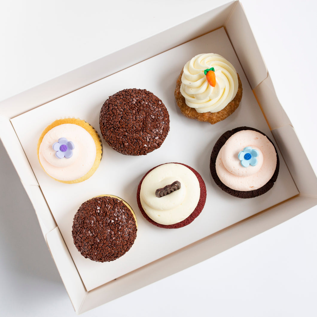 pack of 6 cupcakes: april flavors
