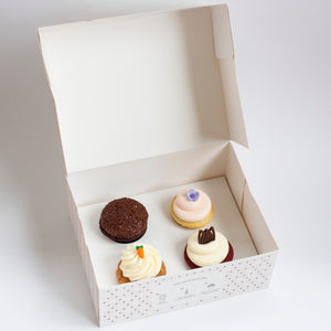 pack of 4 cupcakes: may flavors