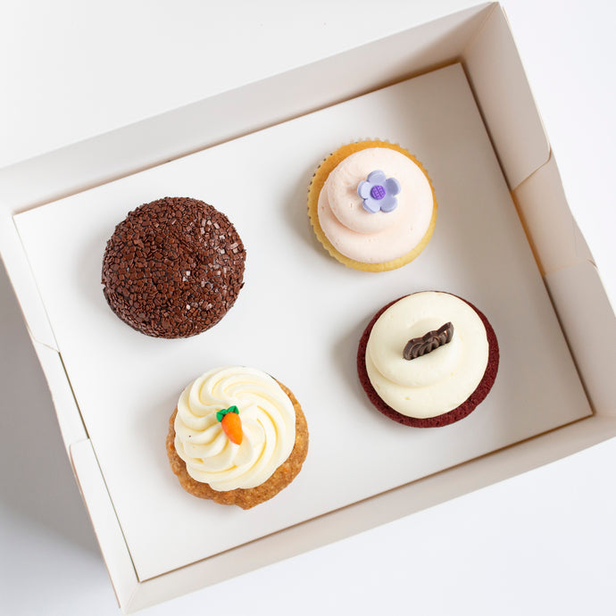 pack of 4 cupcakes: december flavors