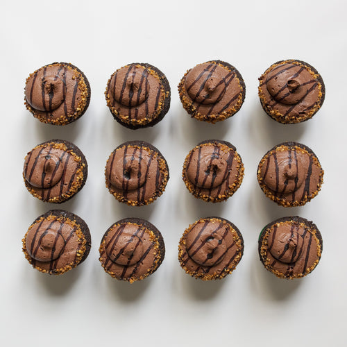 one dozen chocolate hazelnut cupcakes