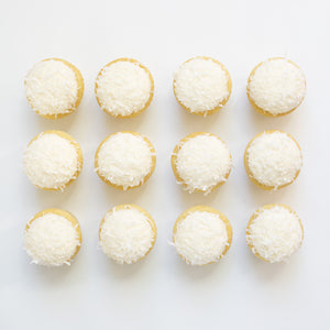 one dozen coconut cupcakes