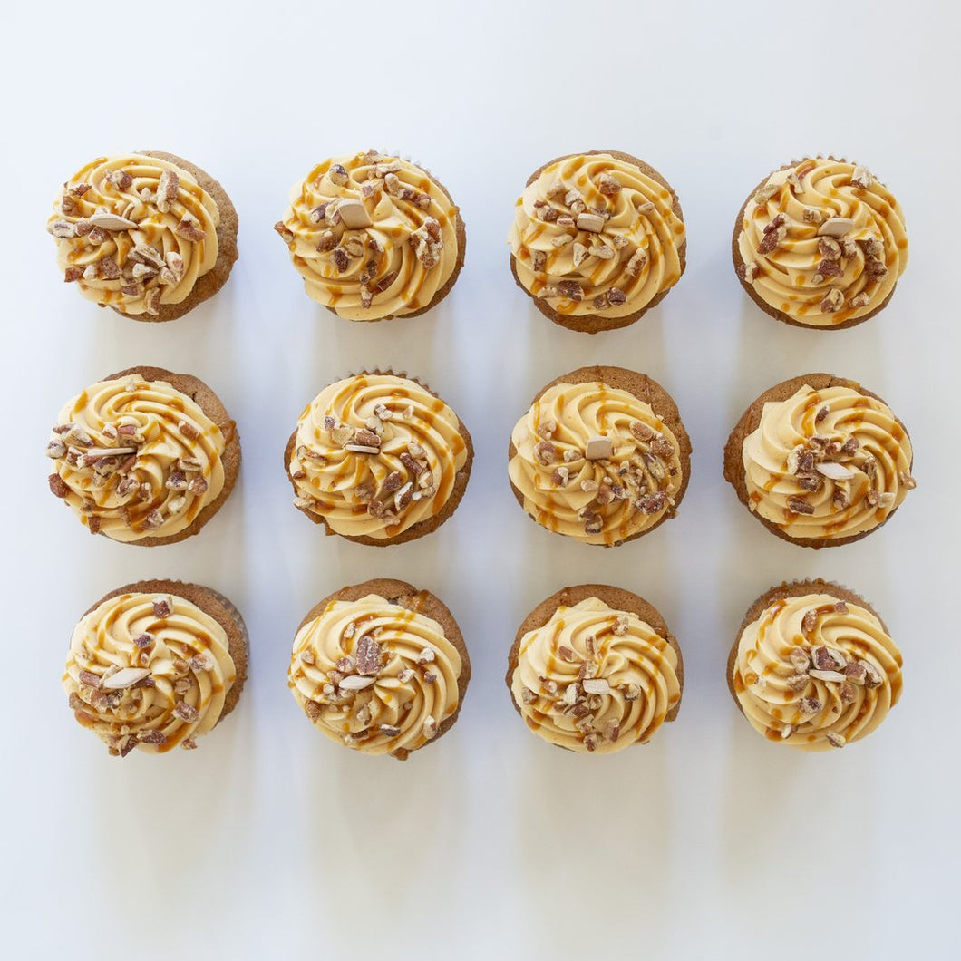 one dozen caramel apple cupcakes