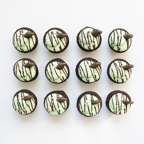 one dozen mint chocolate cupcakes