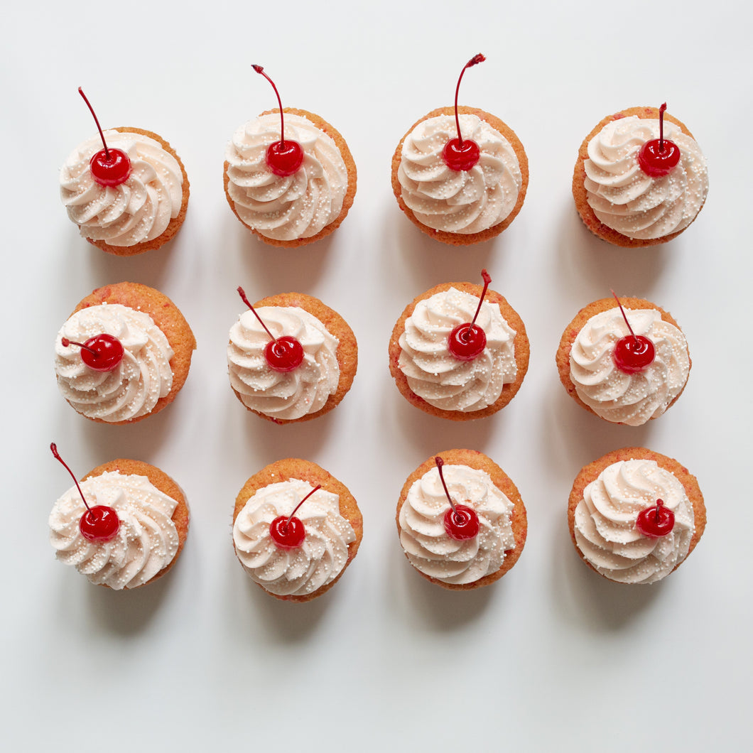 one dozen shirley temple cupcakes