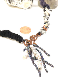 Sari silk, copper, and freshwater Pearl necklace
