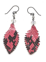 Load image into Gallery viewer, Sparkling Pink Leather Feather Earrings