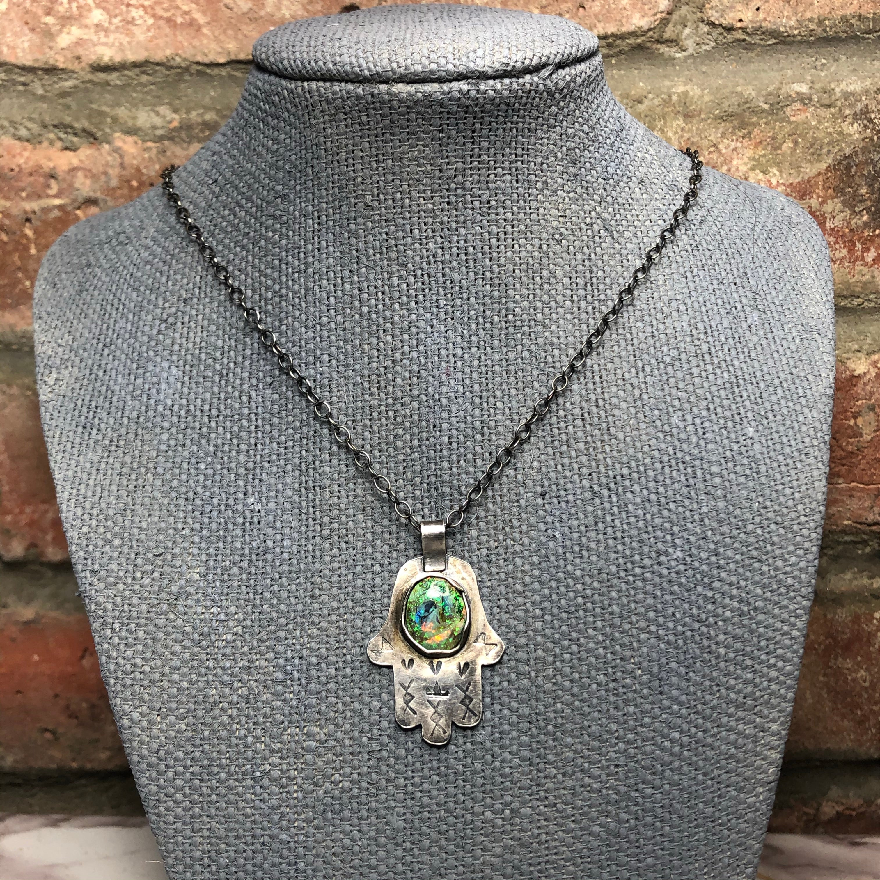 Sterling silver, Monarch Opal, Hamsa necklace