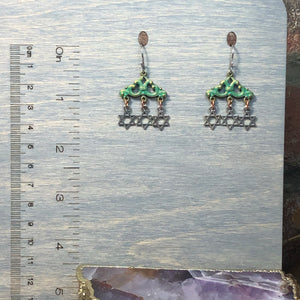 Funky Green and Silver Star of David earrings