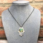 Load image into Gallery viewer, Sterling silver, Monarch Opal, Hamsa necklace
