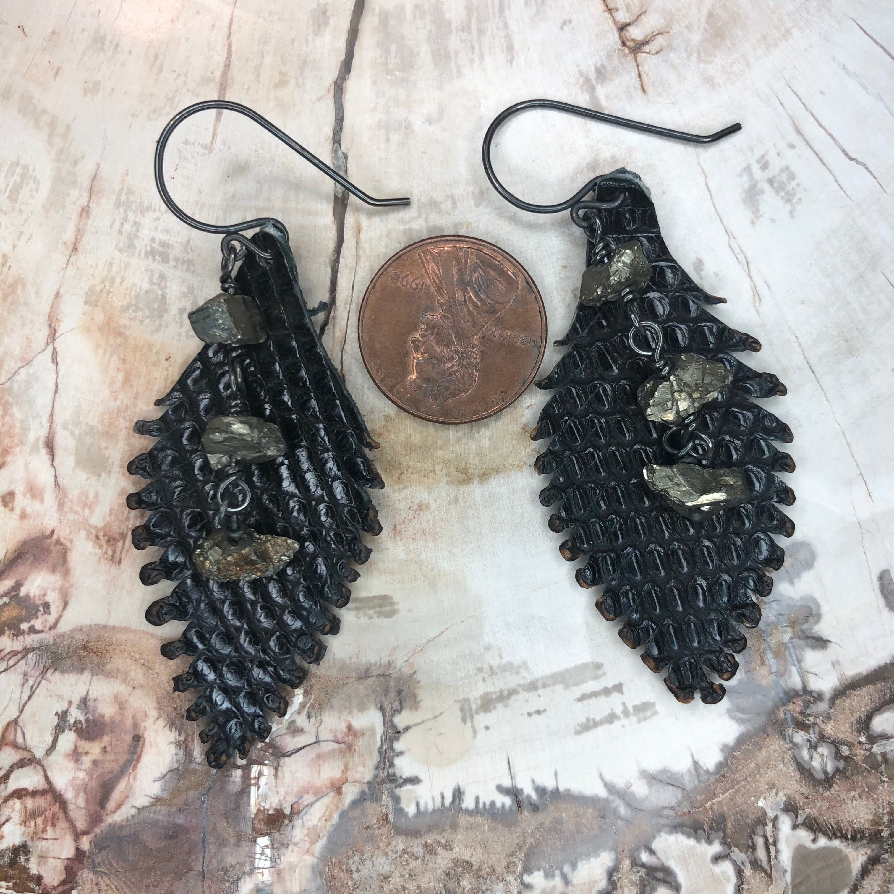 Sterling silver and Pyrite Leather Feather Earrings