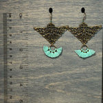 Load image into Gallery viewer, Brass and Mint Tassel earrings