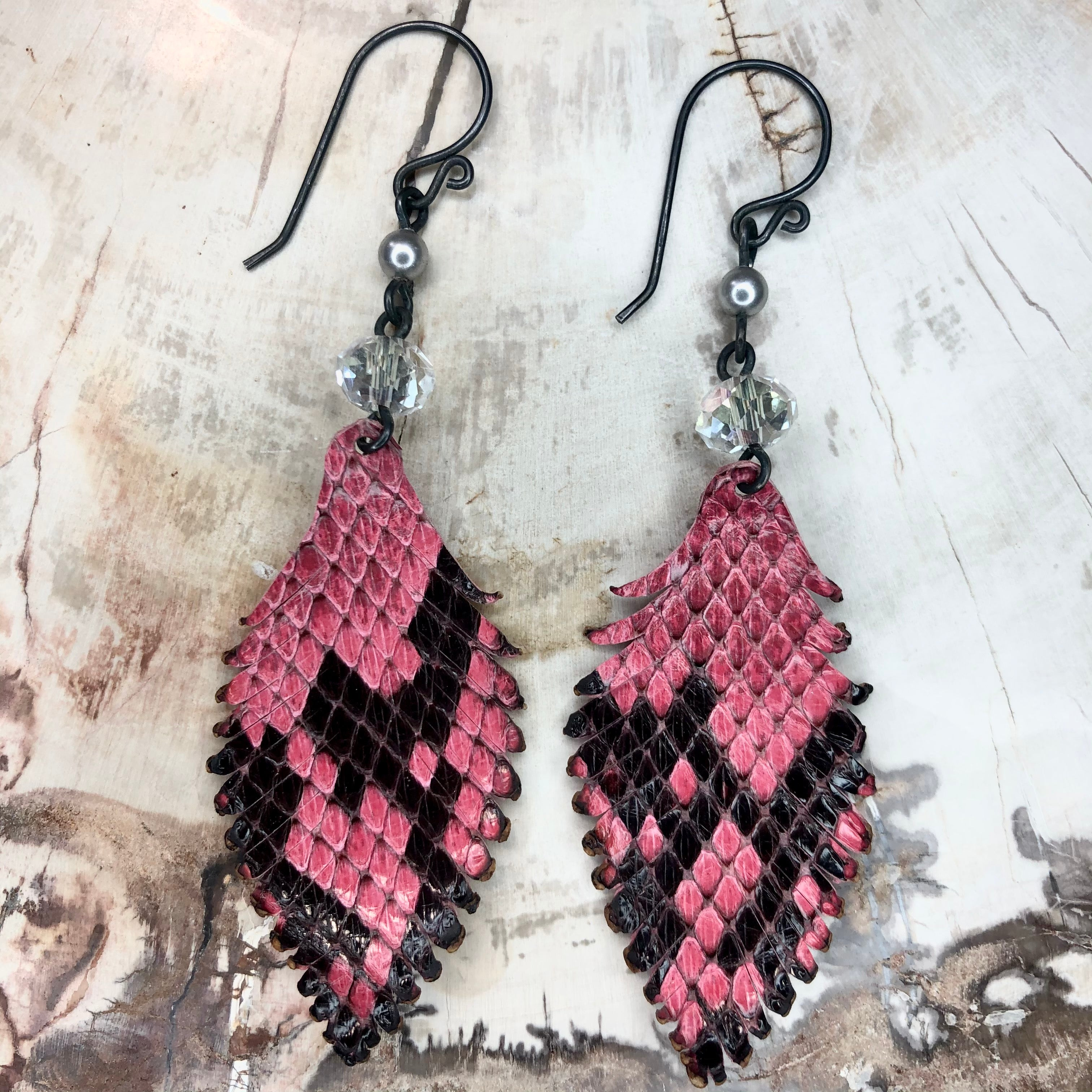 Sparkling Pink Leather Feather Earrings