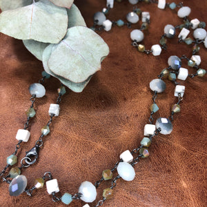 Sterling Silver Convertible Necklace with crystals, Czech Glass, and Howlite