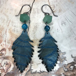 Load image into Gallery viewer, Sterling Silver Leather Feather Earrings with Aventurine and Apatite