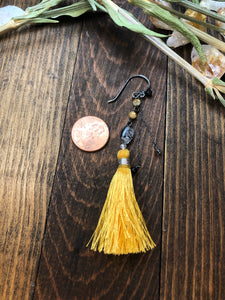 Sterling Silver and Quartz, Yellow Tassel Earrings